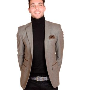 Men's taupe tweed jacket