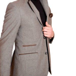 Giacca da uomo in tweed taupe
