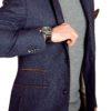 men's blazer in navy tweed